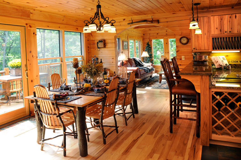 Log Home Dining Room in Wisconsin