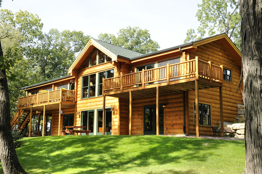Log home with decks