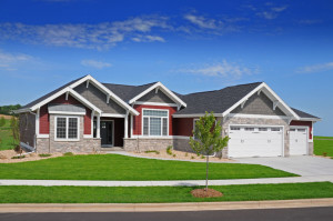 burgundy ranch home with white trim