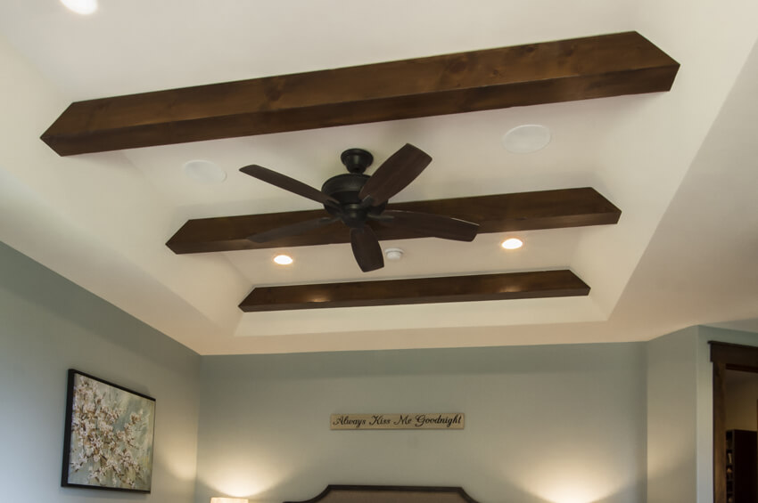 tray ceiling with timber beams