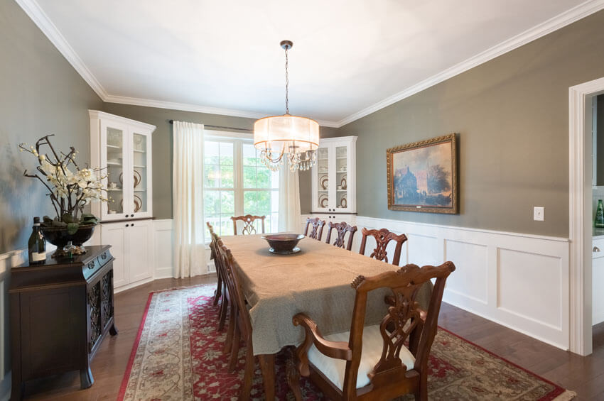 dining room with wainscotting