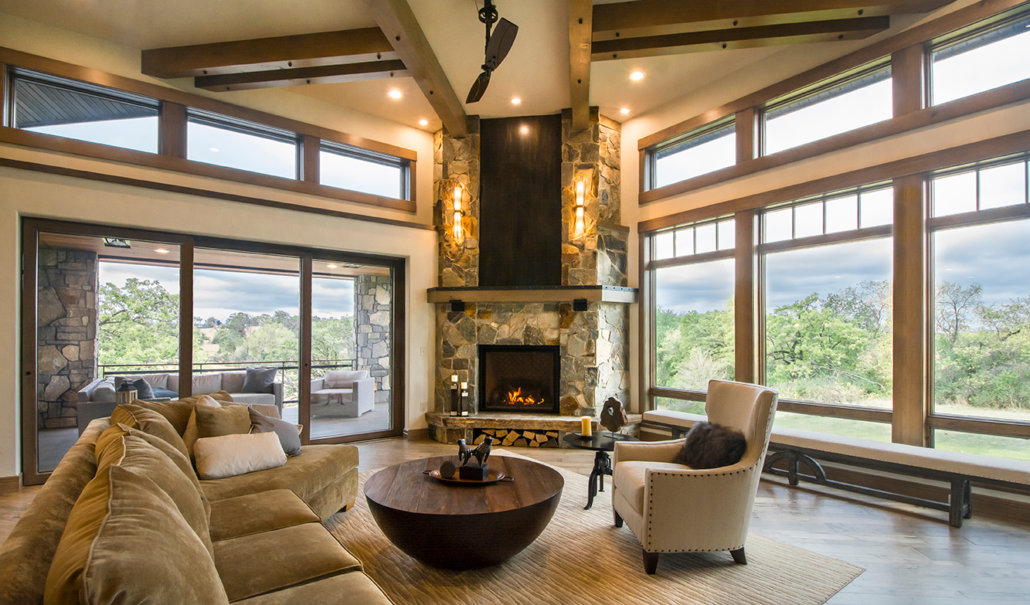 Great Room with Timber Beams