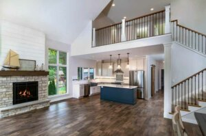 home with vaulted ceiling and loft