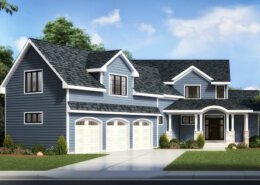 traditional style home with blue siding