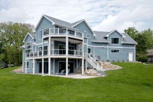 blue sided lake home